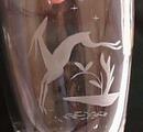 Lead crystal gazelle leaping vase, Orrefors ?