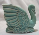 Graceful Pottery Swan Matt Blue/green Finish