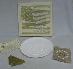 Fenton BiCentennial Milk Glass Plate, & original box
