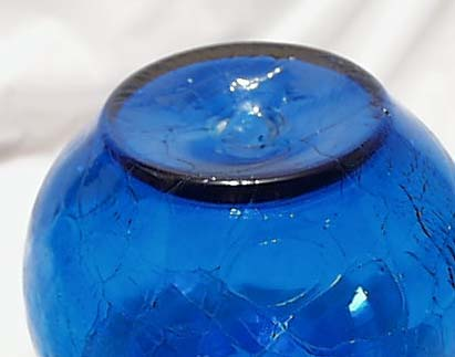 Blenko Crackle Blue Ball Bowl