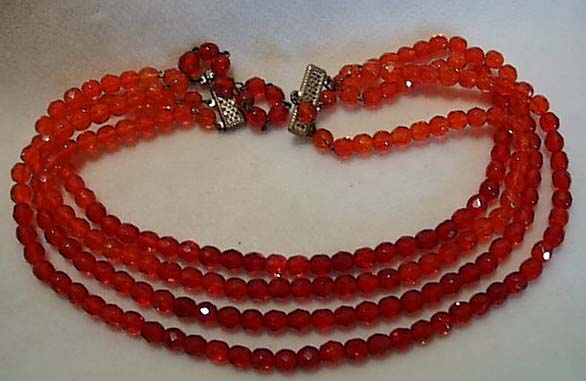 Red Glass Four Strand Necklace