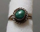 Green Marbled Turquoise Silver Ring