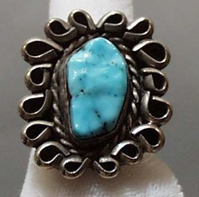 Large Turquoise & Silver Ring