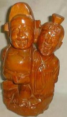 Wooden Figurine Oriental style,leather bottom