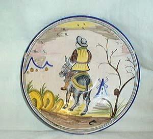 Plate signed LAPILARICA J.A. handpainted man & donkey
