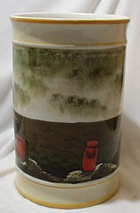 LARGE Italian Vase Sea Ships & Rough Seas