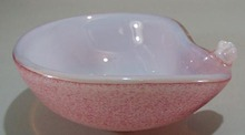 Venetian Cluthra type bowl fantastic, pink / white/ bubbled