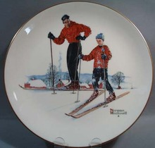 Gorham Norman Rockwell Winter Ski Skills 1961
