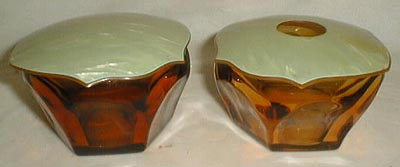 Cambridge amber dresser pair bowls with lids