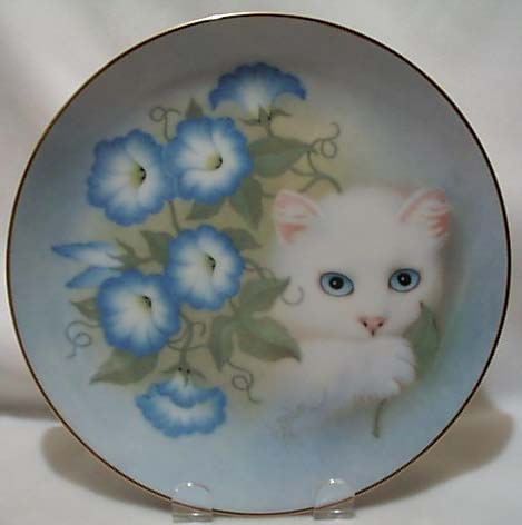 Bob Harrison Morning Glories kitten plate