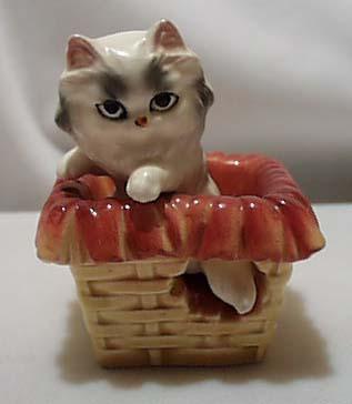 Persian White Kitty In Yellow Basket S & P