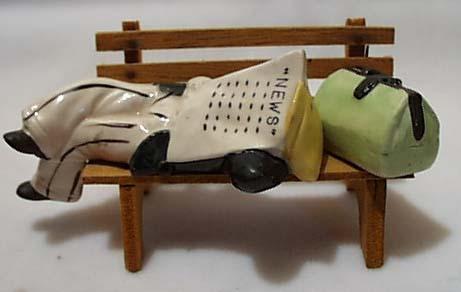 Man Sleeps On Park Bench Salt & Pepper Set