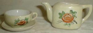 Miniature Child's Flower Cup & Saucer, Teapot