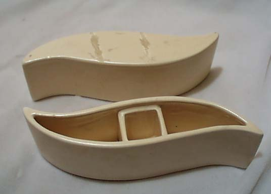 50's S Ivory Curved Candle Holder Set