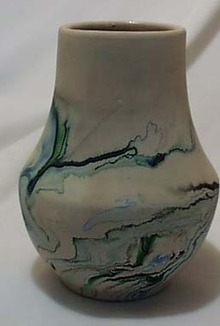 Nemadji blue green oil drip vase