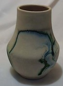 Nemadji blue green oil drip vase