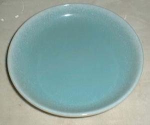 Bliss China Porcelain handcrafted plate, aqua/white