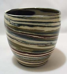 Dessert Sands Pot Blue/green/ brown Swirl