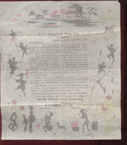 F F Jaques Tea Co paper 1899, stationary