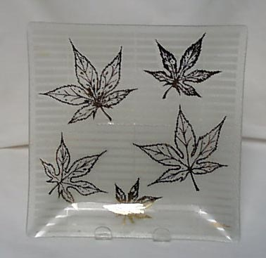 Pair of  FRED PRESS pressed glass trays