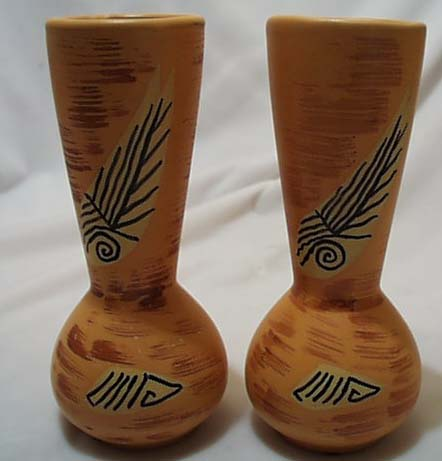 A pair of salmon colored pottery vases/Japan