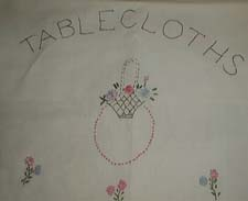 Hand Embroidered Tablecloth Cover or Holder