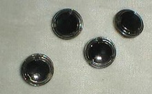 4 black glass & chrome painted buttons