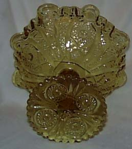Yellow Glass ruffled compote,Fenton?