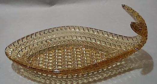 Pattern Glass Dish Fish Shaped