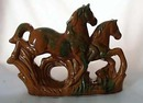 Ceramic Horses in caramel color with green