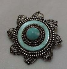 Silver and Faux Turquoise Pin