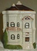 Spice ceramic jar in shape of victorian house