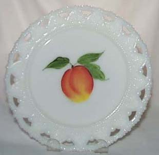 Kemple  Milk glass Plate with H.P. peach