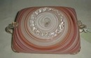 Bowl, Orange/Red/White Swirl Striped
