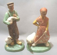 Dutch Couple With Geese Milk Glaze Wash