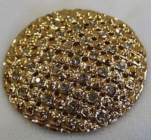 Brooch Goldtone Clear Crystals Round