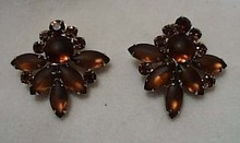 Amber Glass Clip Earrings