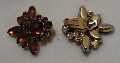 Amber Glass Clip Earrings