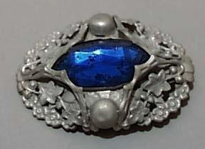 Blue Shoe Button In Silver tone