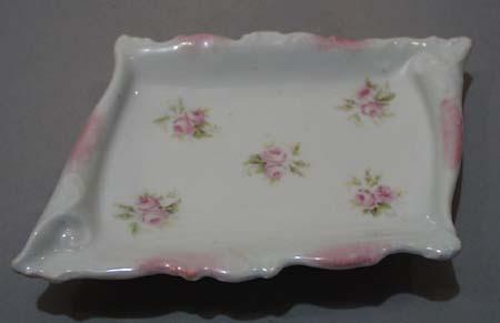 Carlsbad Austria Pink Rose Soap Dish