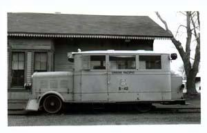 UP Inspector Car #B-42 RR Train Photo. Subject UP Insp. Car B-42,  Location Callaway, NE. 1957