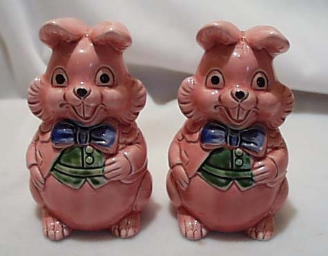 Chubby Ceramic Pink Bunnies S & P Japan