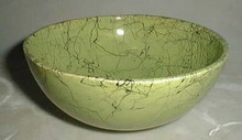 Splatterware cereal bowl in green and black