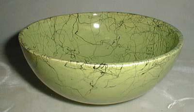 Splatterware cereal bowl in green and black