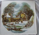 Currier & Ives Tea tile marked Valley Bank