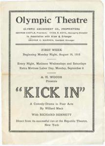 Olympic Theatre program of Kick In by Mack 1915