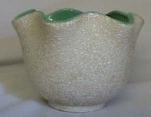 Splatterware planter in green and white