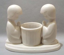 Bisque Porcelain Boy Girl Praying Votive Lite