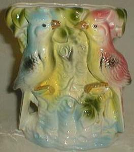 Blue Jay in pink & blue, luster planter/vase