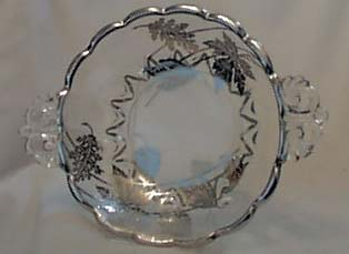Silver City Glass Co.bowl.  Silver leaves